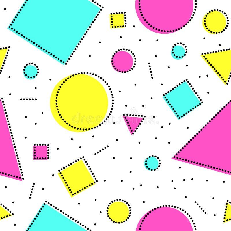 Formas geométricas abstratas de intervalo mínimo brancas e coloridas pretas teste padrão sem emenda de memphis, vetor ilustração royalty free