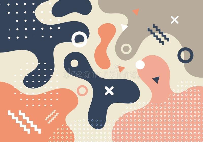 Formas geométricas abstratas e fundo na moda do projeto de cartão do estilo do estilo 80s-90s de memphis da forma dos formulários ilustração do vetor