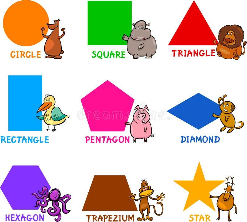 Formas geométricas básicas com animais dos desenhos animados