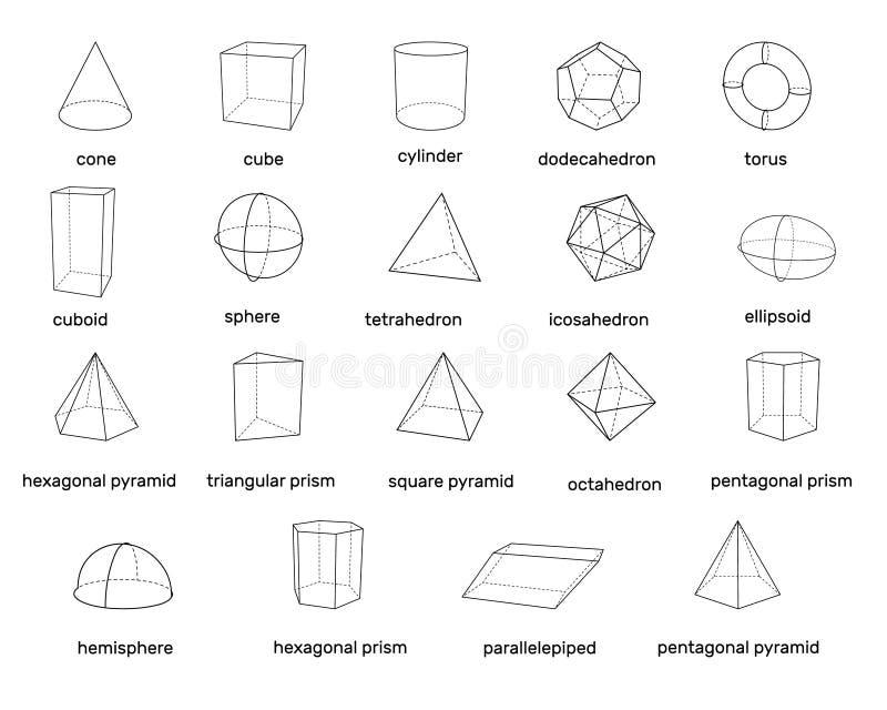 Formas geométricas básicas 3d Aislado en el fondo blanco Vector stock de ilustración
