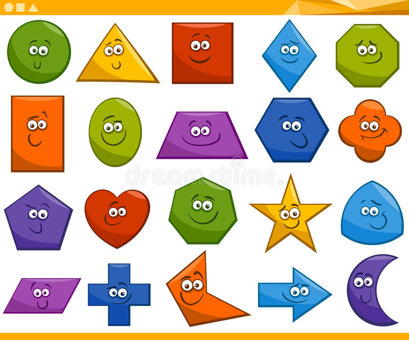 Formas geométricas básicas dos desenhos animados imagem de stock royalty free