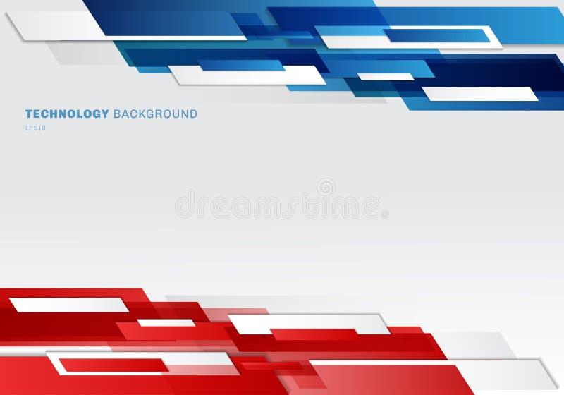 Formas geométricas brilhantes azuis, vermelhas e brancas do encabeçamento do sumário que sobrepõem o fundo futurista móvel da apr ilustração stock