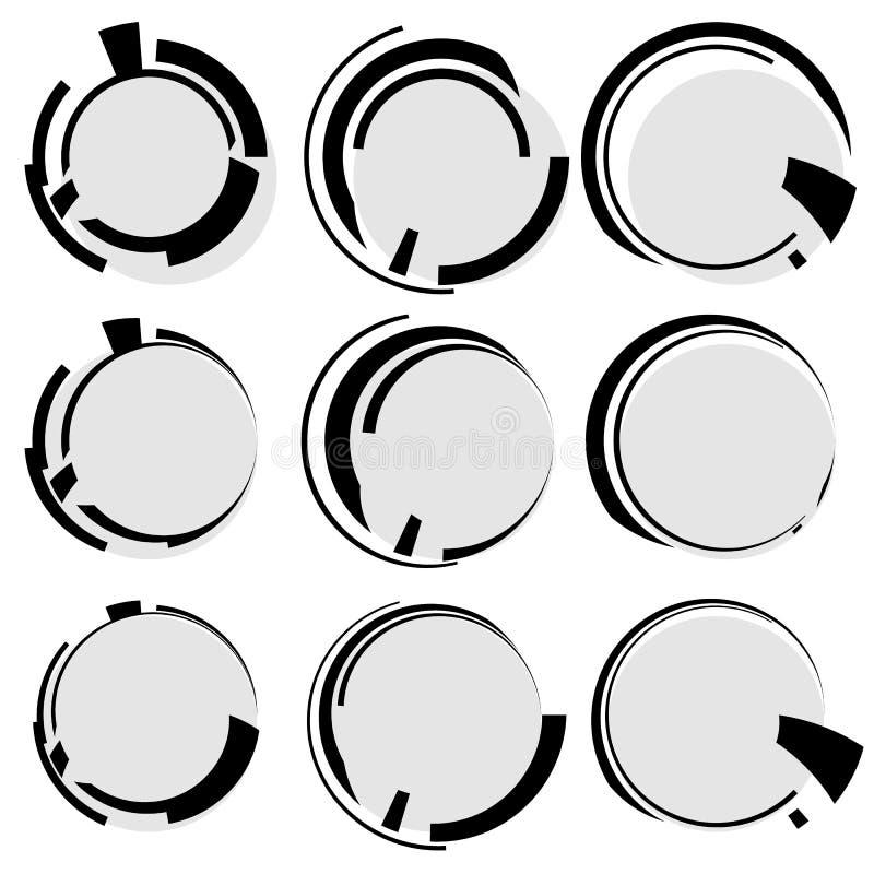 Formas geométricas circulares Círculos com linhas irregulares Abstrac ilustração stock