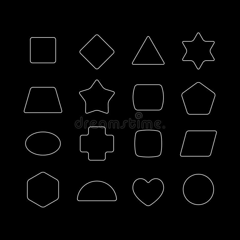 Formas geométricas con las esquinas redondeadas fijadas ilustración del vector