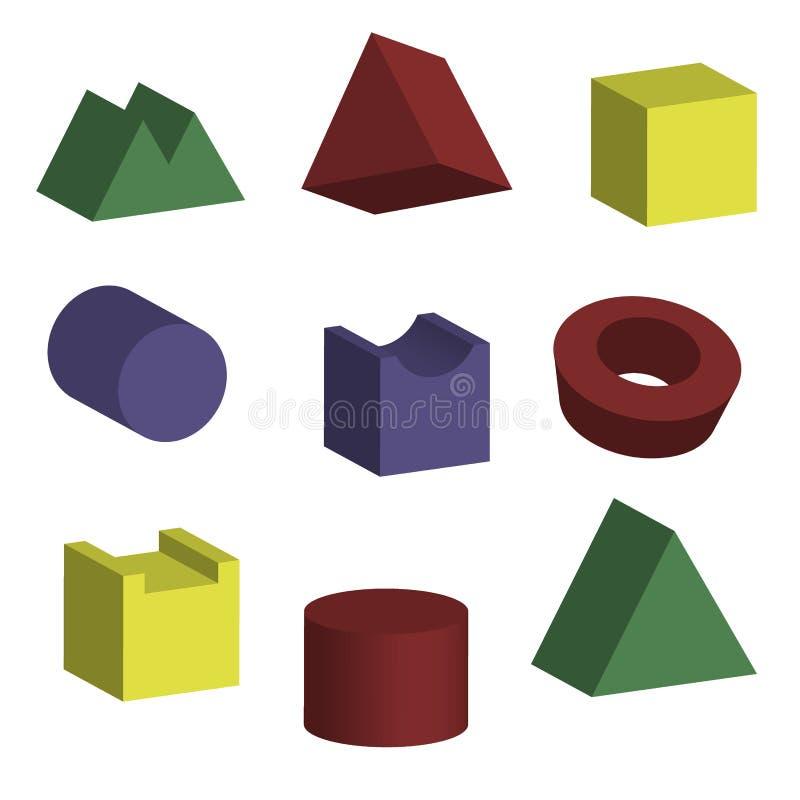 formas geométricas 3D con visiones isométricas stock de ilustración