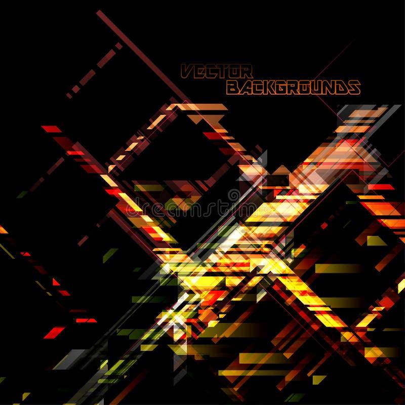 Formas geométricas das cores em uma cena preta ilustração stock