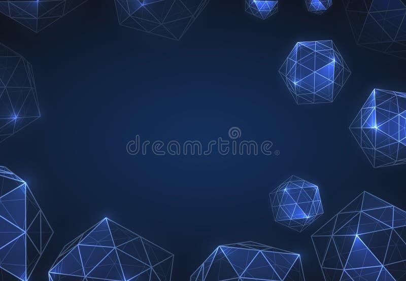 Formas geométricas de diamantes Los deamonds realistas son polígonos aislados de vectores Tecnologías espaciales abstractas del f stock de ilustración