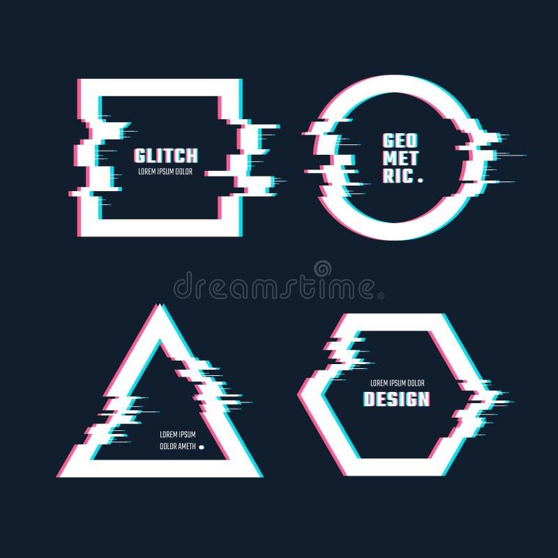 Formas geométricas de moda con efecto de la distorsión de la interferencia Marcos de la frontera con las líneas video sistema de  libre illustration