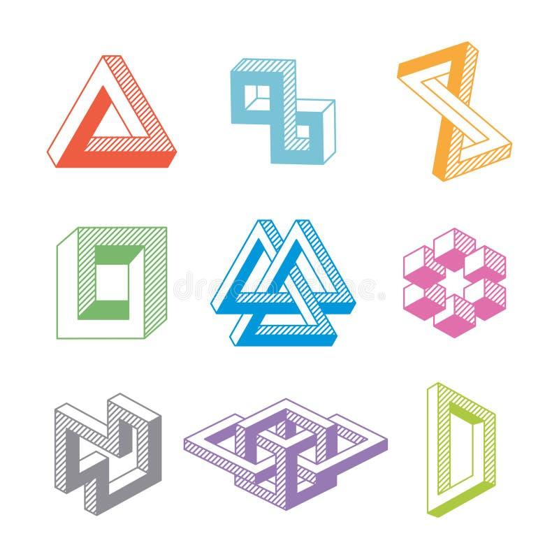 Formas geométricas imposibles coloridas Vector ilustración del vector