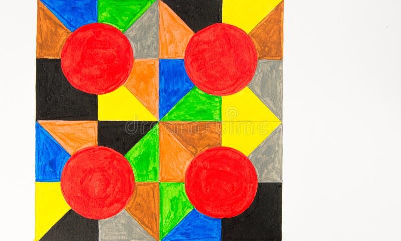 Formas geométricas multicoloridos pintados à mão imagem de stock royalty free