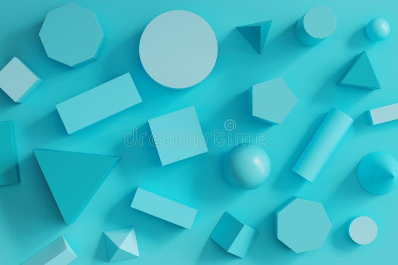 Formas geom?tricas mon?tonas azules fijadas en fondo azul stock de ilustración
