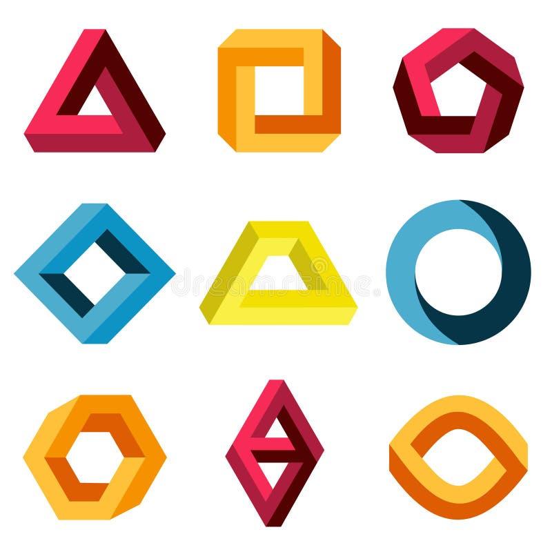 Formas imposibles del vector del color fijadas stock de ilustración
