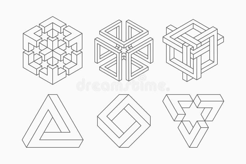 Formas imposibles gráficas Símbolos del círculo, del cuadrado y del triángulo con el gráfico geométrico de la geometría imposible ilustración del vector