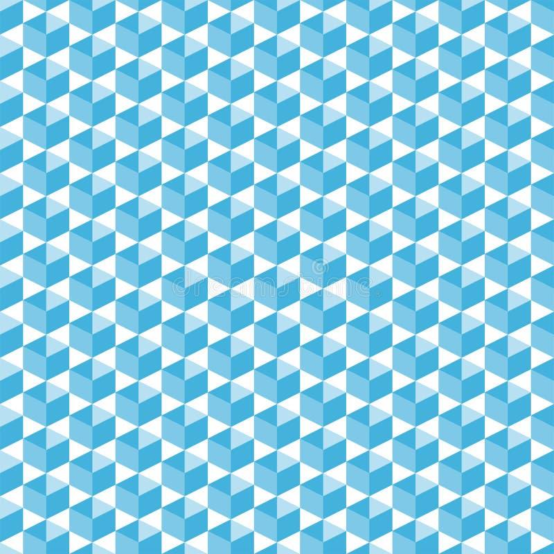 Formas isométricas cúbicas en modelo inconsútil de semitono azul, formas geométricas diagonalmente dispuestas simples para la imp ilustración del vector