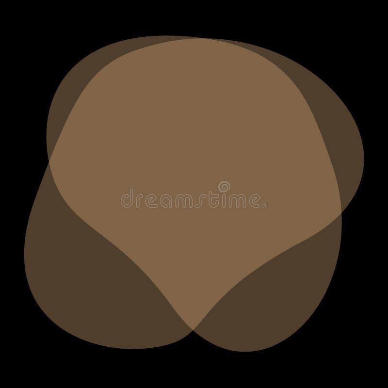 Formas libres de la gota de Brown geométricas para el fondo de la bandera, gota plana del cepillo líquido simple de la mancha par libre illustration