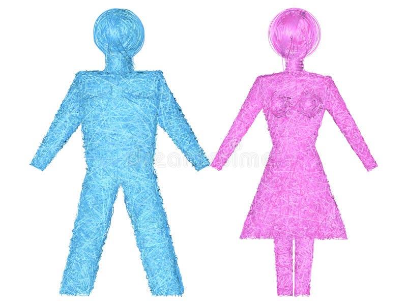 Formas masculinas e fêmeas compostas de listras azuis e cor-de-rosa ilustração do vetor