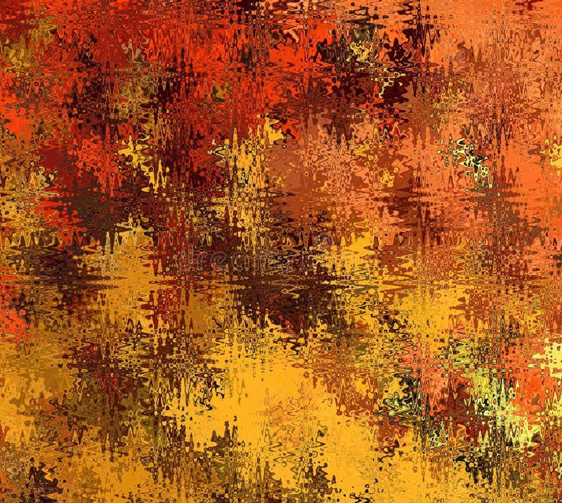 Formas onduladas abstratas caóticas da Multi-cor do sumário da pintura de Digitas em máscaras diferentes de Autumn Tree Leaves Co ilustração do vetor