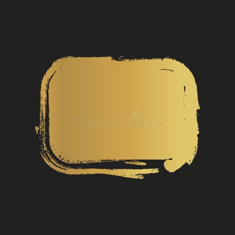 Formas pintadas vintage de oro del rectángulo del Grunge Ilustración del vector ilustración del vector