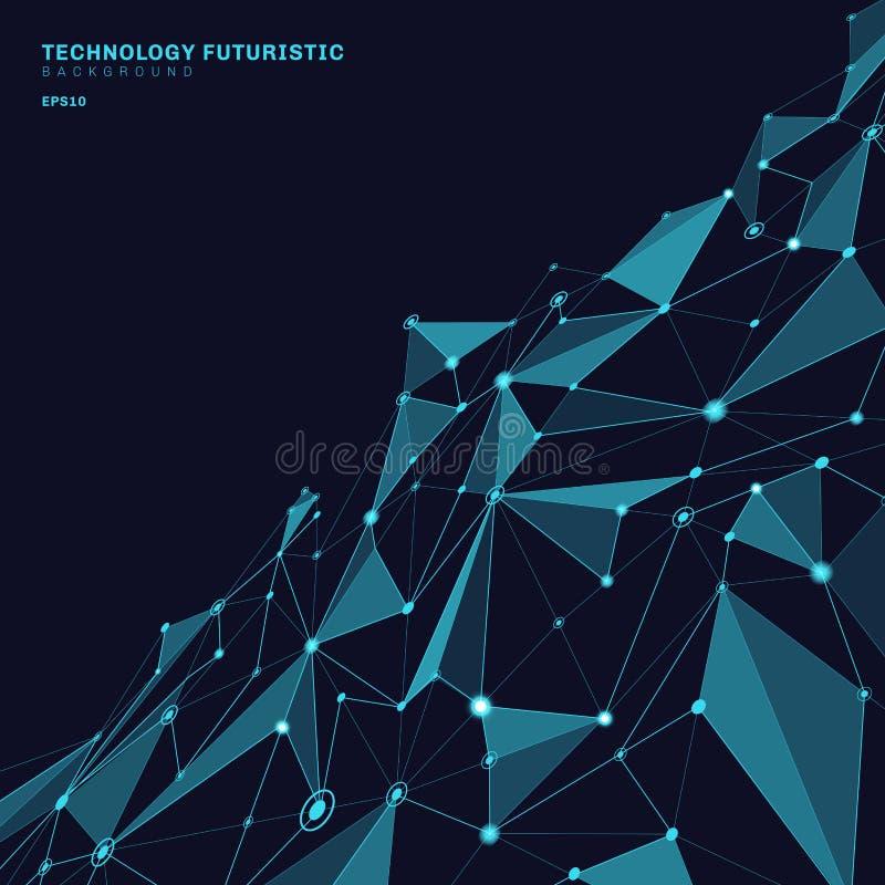 Formas poligonales abstractas en el fondo azul marino de la perspectiva que consiste en líneas y puntos bajo la forma de planetas libre illustration