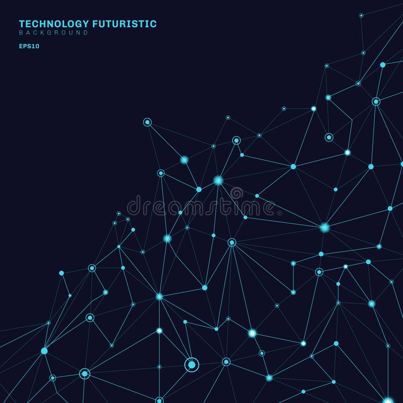 Formas poligonales abstractas en el fondo azul marino que consiste en líneas y puntos bajo la forma de planetas y constelaciones libre illustration