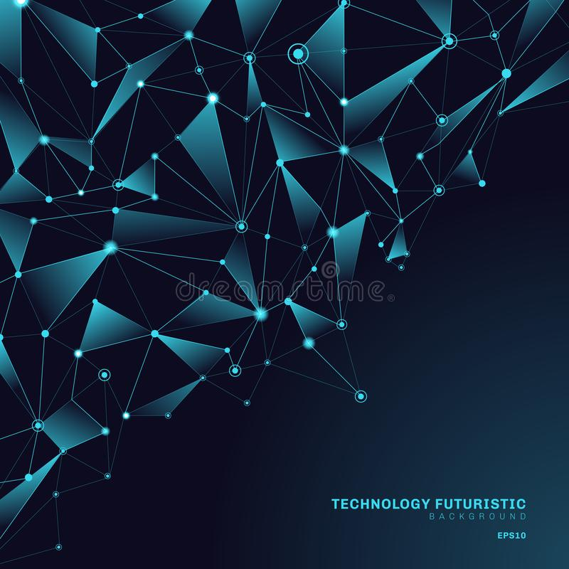 Formas poligonales de los triángulos del extracto en el fondo azul marino que consiste en líneas y puntos bajo la forma de planet ilustración del vector