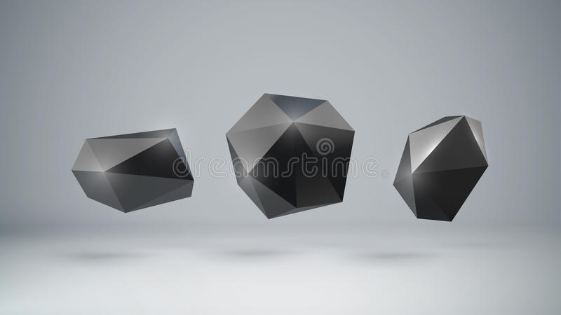 formas poligonales negras 3d libre illustration