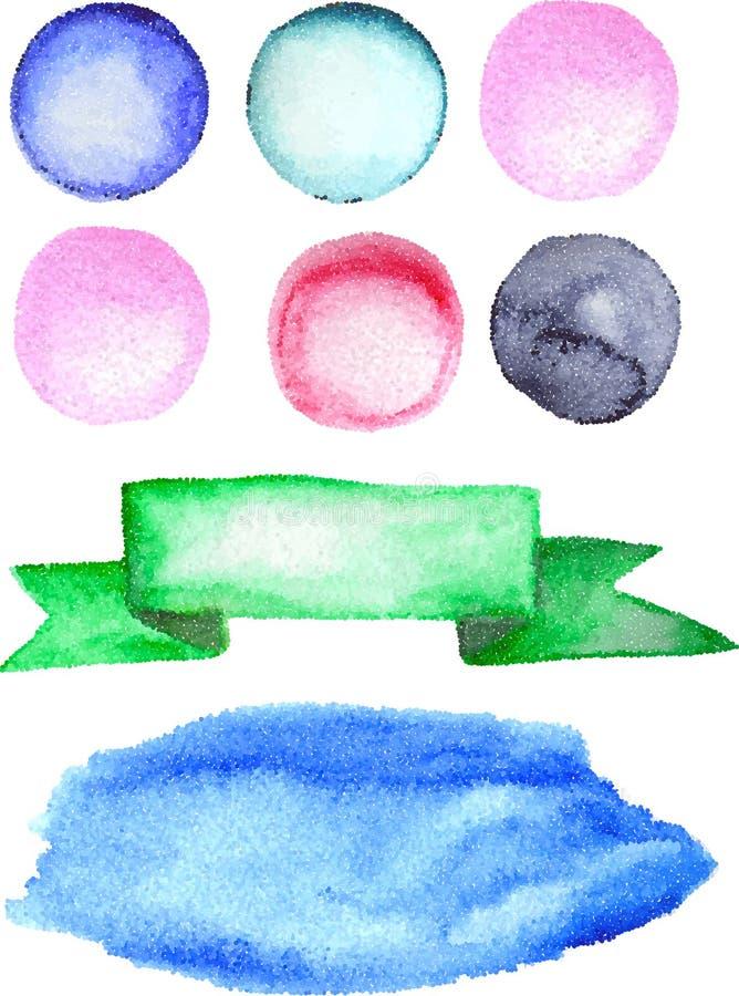 Formas pontilhadas Círculos, manchas e fita coloridos ilustração do vetor