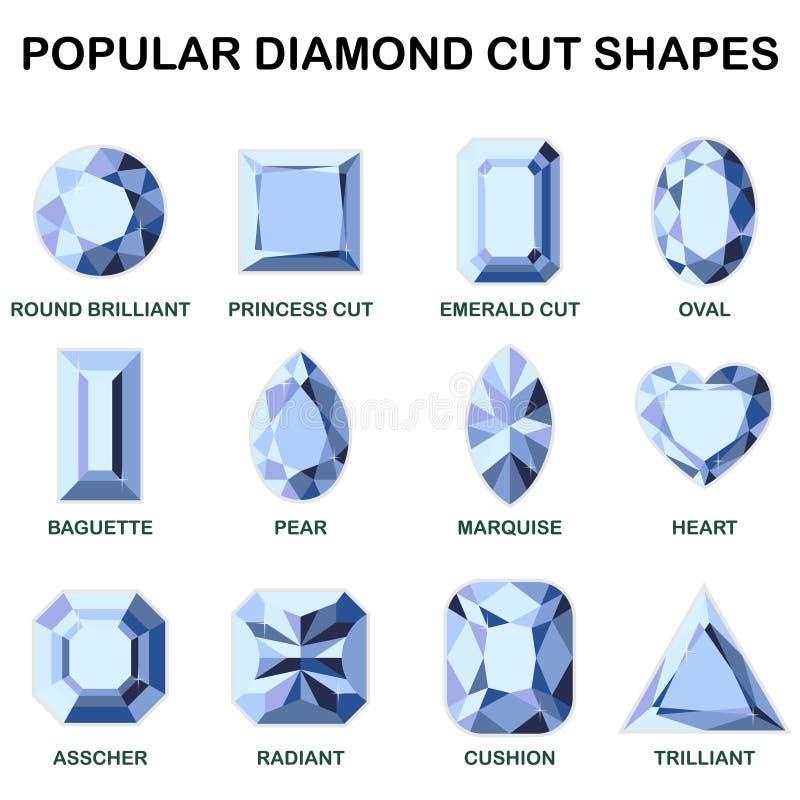 Formas populares del corte del diamante ilustración del vector