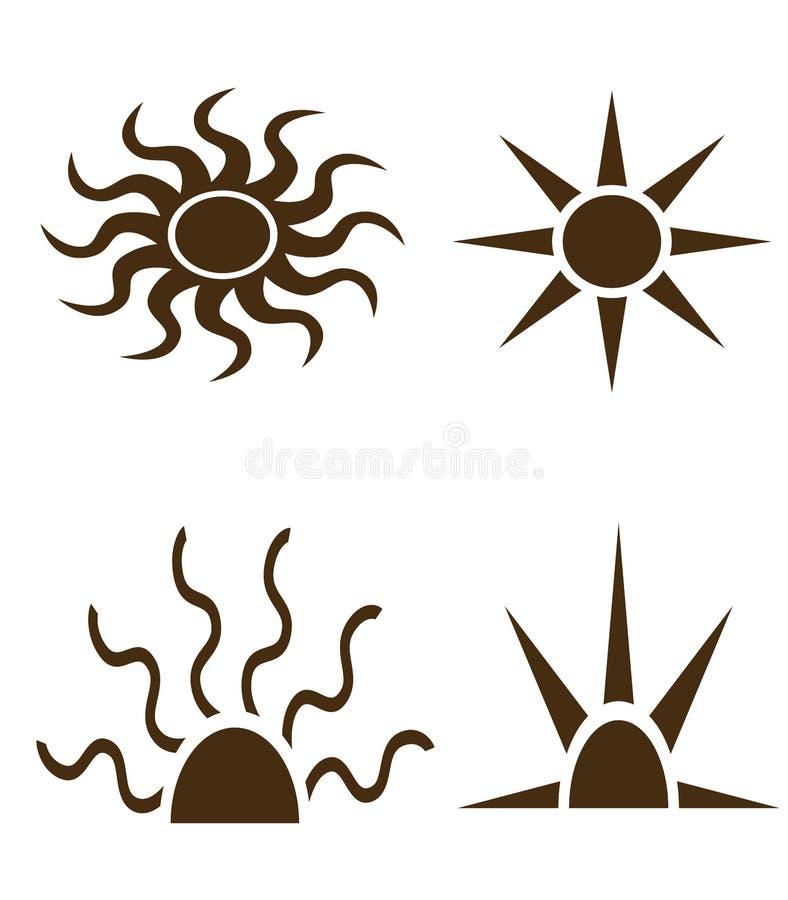 Formas pretas do sol e das raias ilustração do vetor