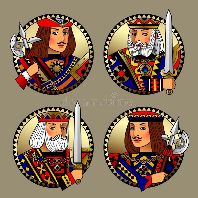Formas redondas com as caras de caráteres dos cartões de jogo ilustração do vetor