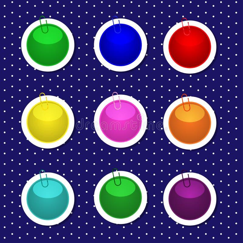 Formas redondas de la etiqueta engomada en colores brillantes stock de ilustración