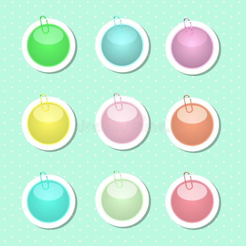 Formas redondas de la etiqueta engomada en colores en colores pastel libre illustration