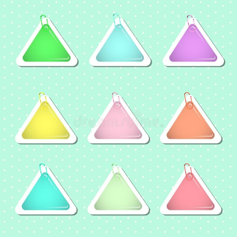 Formas redondas de la etiqueta engomada en colores en colores pastel stock de ilustración