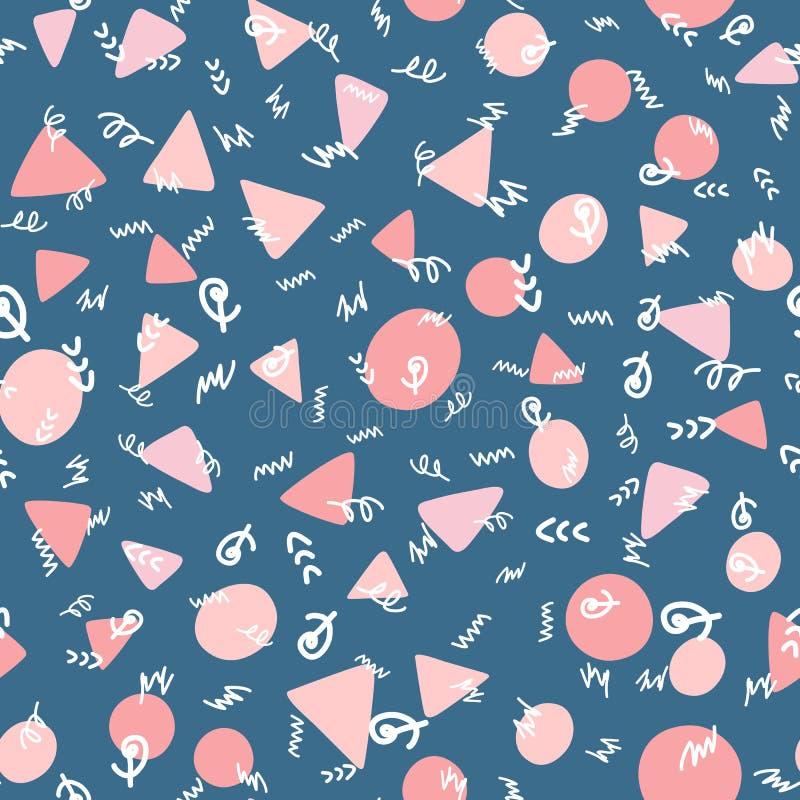 Formas repetidas e garranchos geométricos tirados à mão Teste padrão sem emenda na moda abstrato ilustração do vetor