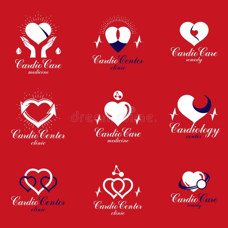 Formas rojas del corazón hechas usando cartas del ecg y manos que cuidan Sistema de stock de ilustración