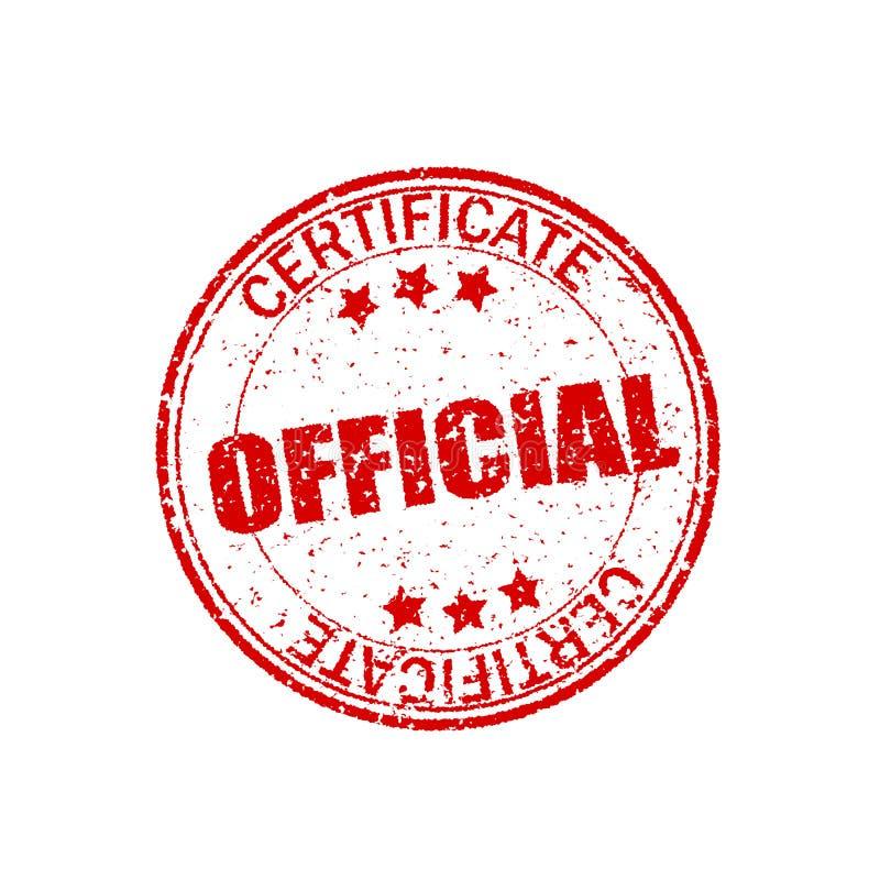 Formas rojas, retras Certificado oficial Textura de goma redonda Sello del vintage en el fondo blanco Elemento del grunge del cír stock de ilustración