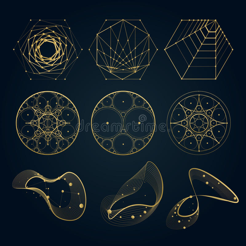 Formas sagradas de la geometría de líneas libre illustration