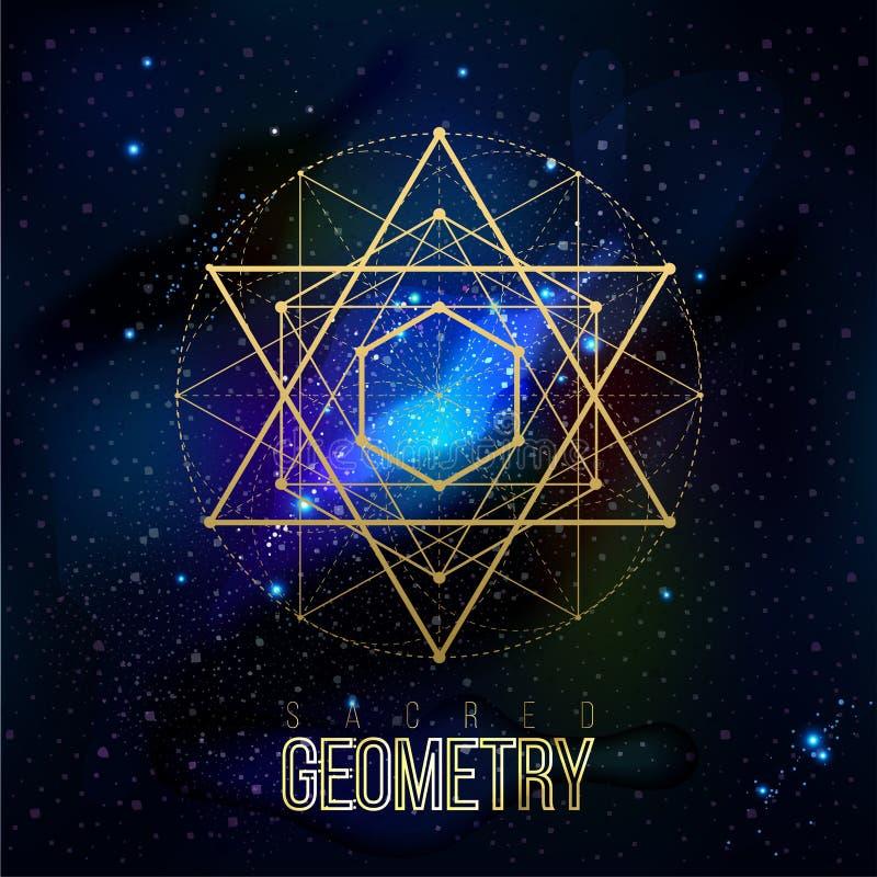 Formas sagradas de la geometría en fondo del espacio ilustración del vector