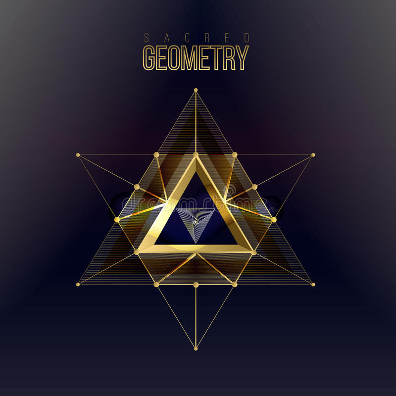 Formas sagradas de la geometría en fondo del espacio, ilustración del vector