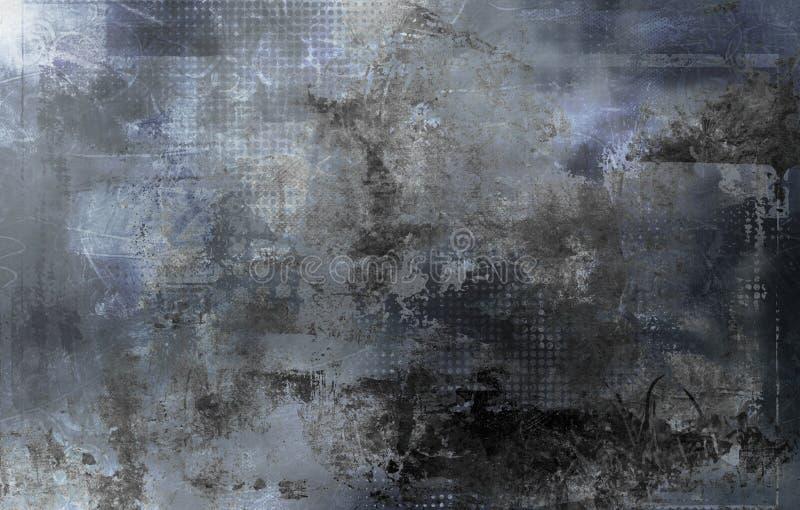 Formas, texturas y modelo grises abstractos stock de ilustración