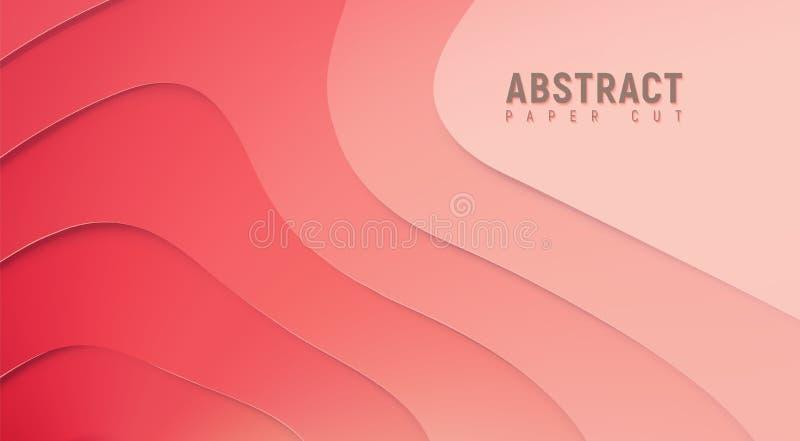 formas vermelhas minimalistic do corte do papel do sumário 3D ilustração stock