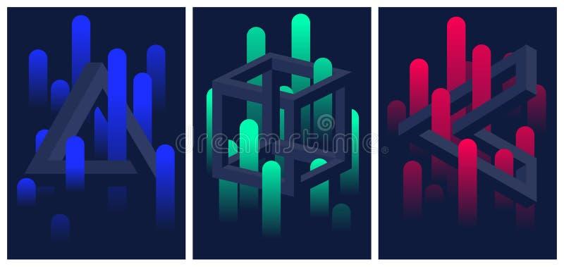 Formas y líneas geométricas imposibles de la pendiente del color, sistema de aviadores y folletos, fondo del extracto del vecto stock de ilustración