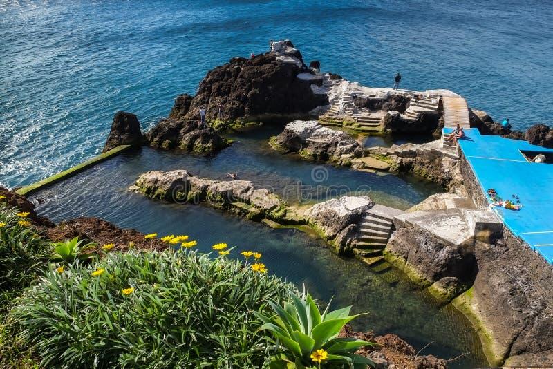 Formosa beach Swimming Pool, Madeira. The outdoor swimming pool at Formosa Beach, Funchal, Madeira stock image