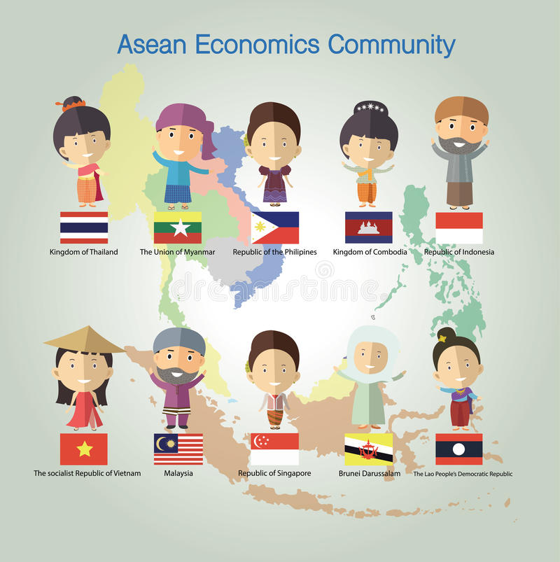 Format eps10 de la Communauté de sciences économiques d'ASEAN (l'AEC) illustration stock