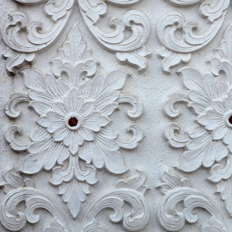 Format för fyrkant för design för vägg för modell för vit skulptur för stuckatur dekorativt arkivbilder