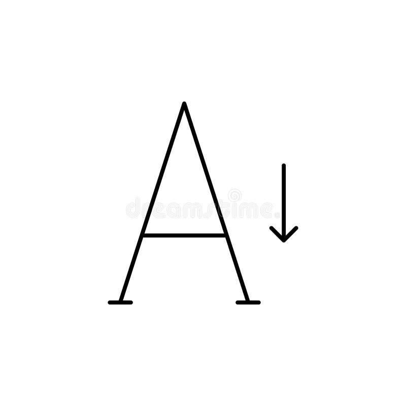 Format, Größe, kleiner, Textikone Element des Textes und der Typografie für bewegliches Konzept und Netz Appsikone Dünne Linie Ik stock abbildung