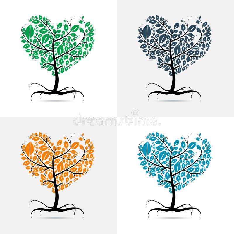 Format träd för vektor hjärta vektor illustrationer
