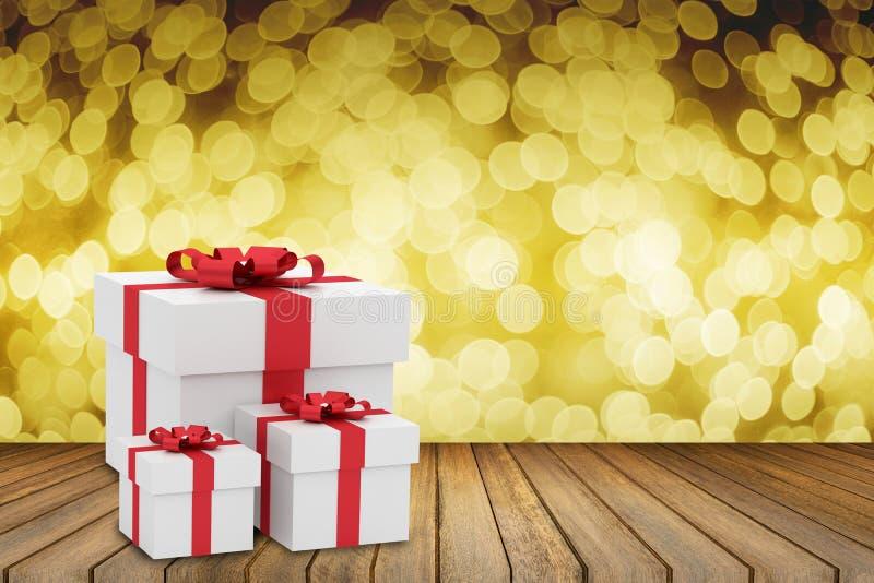 Format tre av gåvaasken för vit fyrkant med den pålagda trätabellen för röd bandpilbåge mot suddigt ut ur fokusbokehbakgrund stock illustrationer