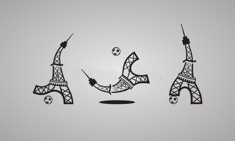 Formate ENV und Jpg Turm spielt Fußball Set vektorikonen vektor abbildung