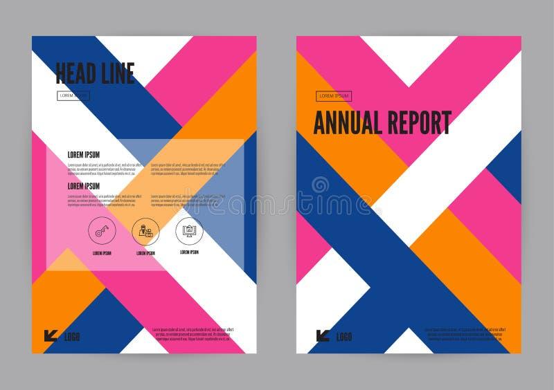 Formatet för mallen A4 för reklambladet för broschyren för den blått-, rosa färg- och apelsinårsrapportbroschyren planlägger vektor illustrationer